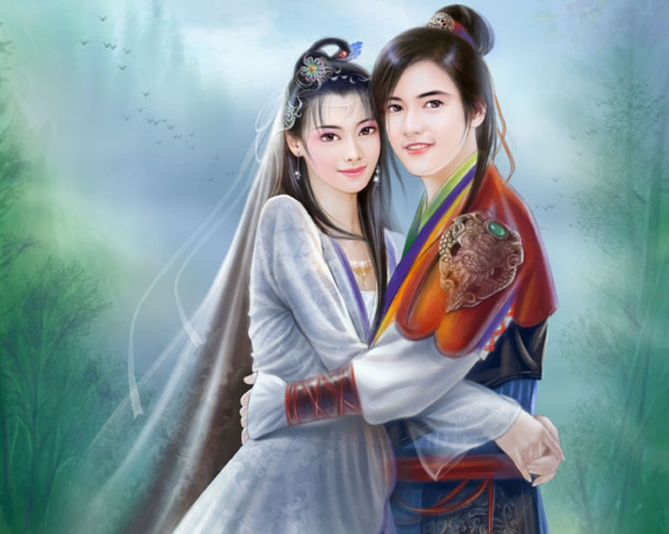 Love couple Painting Wallpaper : chinese Girl Paintings 02 Imagez Only